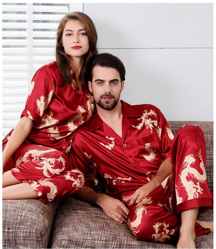 Couple пижама Silk Satin Pajamas Pyjamas Set Long Sleeve Sleepwear Pijama Pajamas Suit Women And Man Sleep 2PC Set Loungewear