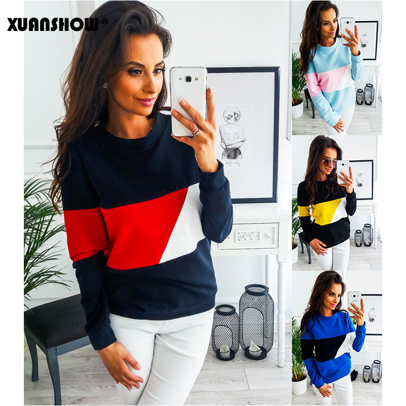 XUANSHOW 2020 New Sweatshirt Women Spring Casual Patchwork O-neck Long Sleeve Pullover Tops Moletom Sudadera Mujer Plus Size XXL
