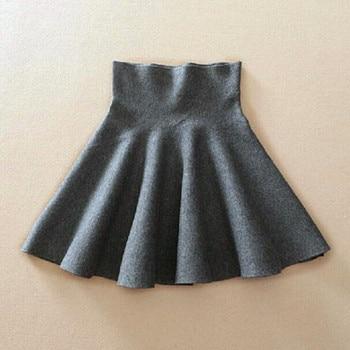 2019 Spring Autumn New Women Skirt Knitting Woolen Midi Skirt Ladies High Waist Casual Pleated Elastic Flared Skirts Womens 2