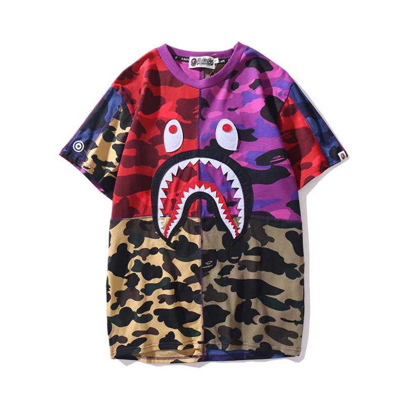 2019 Summer Japanese-style Popular Brand Shark Head Camouflage Multilayer Joint T-shirt Pure Cotton Crew Neck Short Sleeve