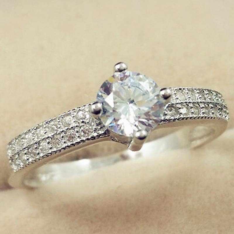 925 Sliver SL1 เพชรแหวน Anillos Bizuteria งานแต่งงานเงิน 925 เครื่องประดับพลอยหรูหราประกายวงกลมแหวนเครื่องประดับ