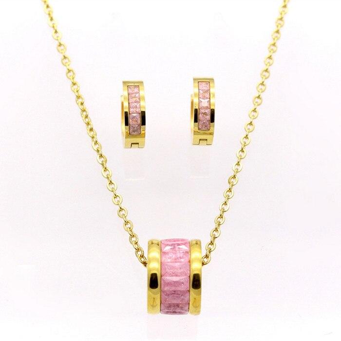 BAG93-21 en acier inoxydable bijoux ensemble rose cristal strass or boucles d'oreilles goujons pendentif collier cadeau de mode femmes