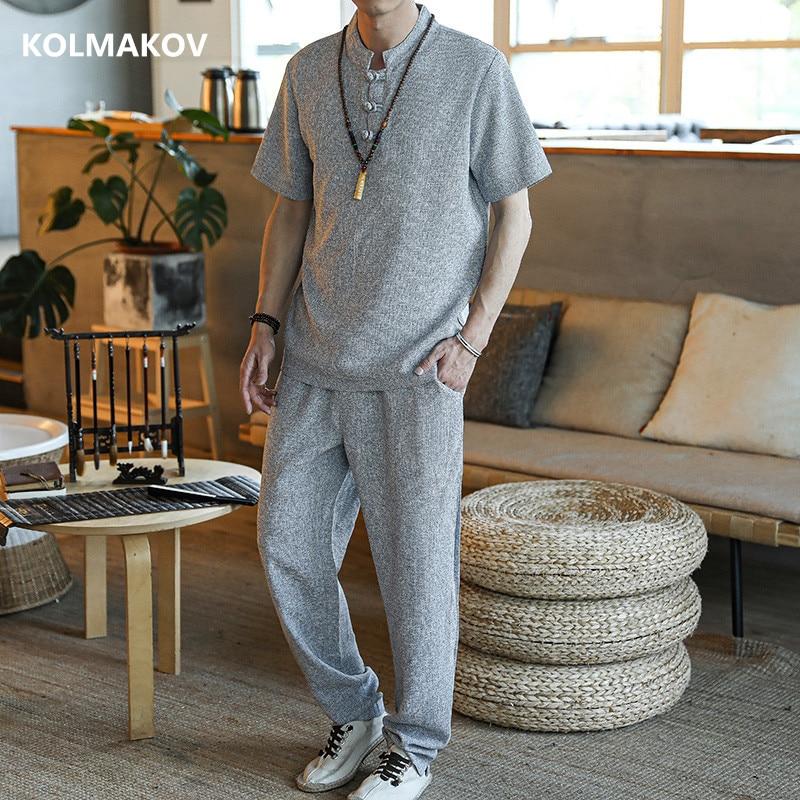 (Shirt + Trousers) 2020 Summer Casual Men Shirt Cotton And Linen Shirts Men's High Quality Fashion Shirts Man Size M-4XL