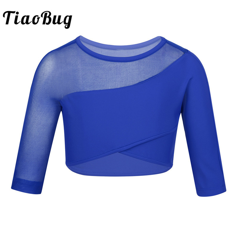 <font><b>TiaoBug</b></font> Girls 3/4 Sleeves Stretchy Breathable Asymmetrical Ballet Gymnastics Crop Tops Performance Sports Child Kids Dance Wear image