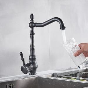 Image 4 - ULGKSD Black Bronze Kitchen Faucets Cold Hot Kitchen Mixer Tap Single Handle Mixer Tap 360 Rotation Kitchen Water Crane Tap
