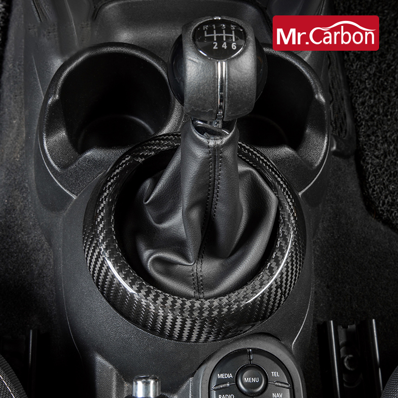 Car Gear Panel Decoration Cover <font><b>Carbon</b></font> Fiber Interior Accessories For BMW <font><b>MINI</b></font> COOPER S JCW F54 F55 <font><b>F56</b></font> F57 F60 Car Styling image