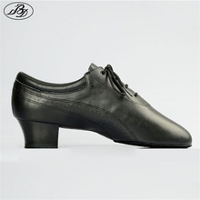 Hot Sale Men Latin Dance Shoes 424 Split Outsole Soft Leather Professional Dancesport  Shoe Elastic Heel Ballroom Dancing Shoe