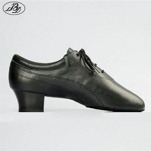 Image 1 - Venda quente dos homens sapatos de dança latina 424 divisão outsole couro macio profissional sapato dança de salão salto elástico sapato