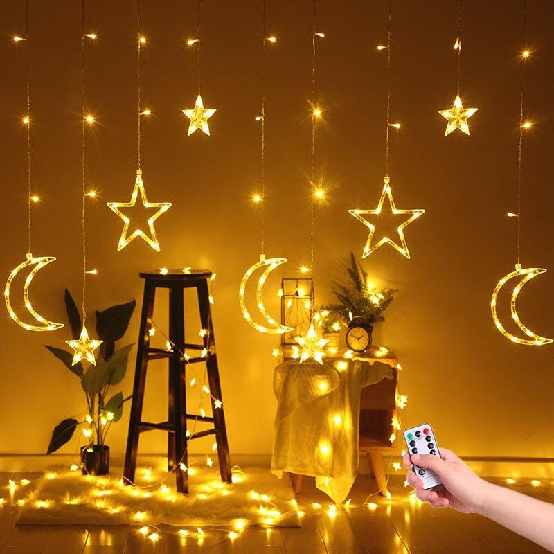 Image 2 - 220V EU Plug Moon Star LED Curtain Lights Christmas Fairy Garlands Outdoor LED Twinkle String Lights Holiday Festival Decoration on