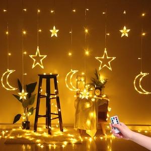 Image 2 - 220V Spina di UE Luna Star LED Tenda Luci Di Natale Fata Ghirlande Outdoor LED Scintillio Luci Della Stringa di Vacanze Decorazione di Festival