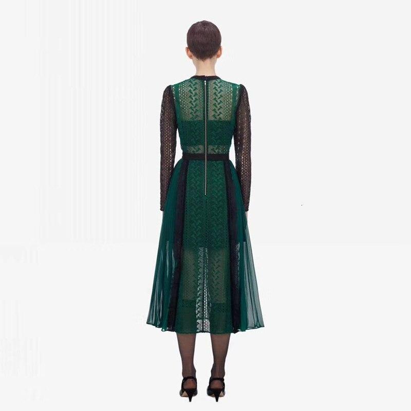 Luxe piste Designer auto Portrait robe 2019 automne mode dentelle épissure évider longue robe femmes partie nuit Femme Vestido - 4