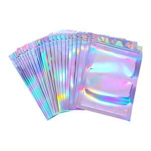 100pcs S/M/L Flat Zip lock Bath Salt Cosmetic Bag One Side Clear Holographic Laser Mini Aluminum Foil Zip Lock Bags Thick(China)