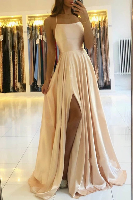 Womens Straps Prom Dress Long High Split Satin Evening Gowns Prom Spaghetti Formal Party Bridesmaid Dresses For Wedding 1