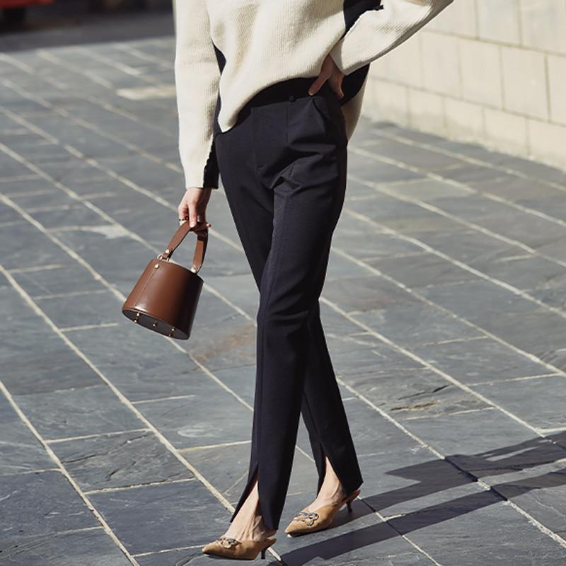 AEL весенние новые женские черные узкие брюки, повседневные брюки с разрезом, простые тонкие эластичные длинные брюки для женщин