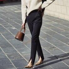 Ael primavera novas senhoras preto calças de lápis fundo dividir calças casuais simples fino elástico calças compridas para mulher