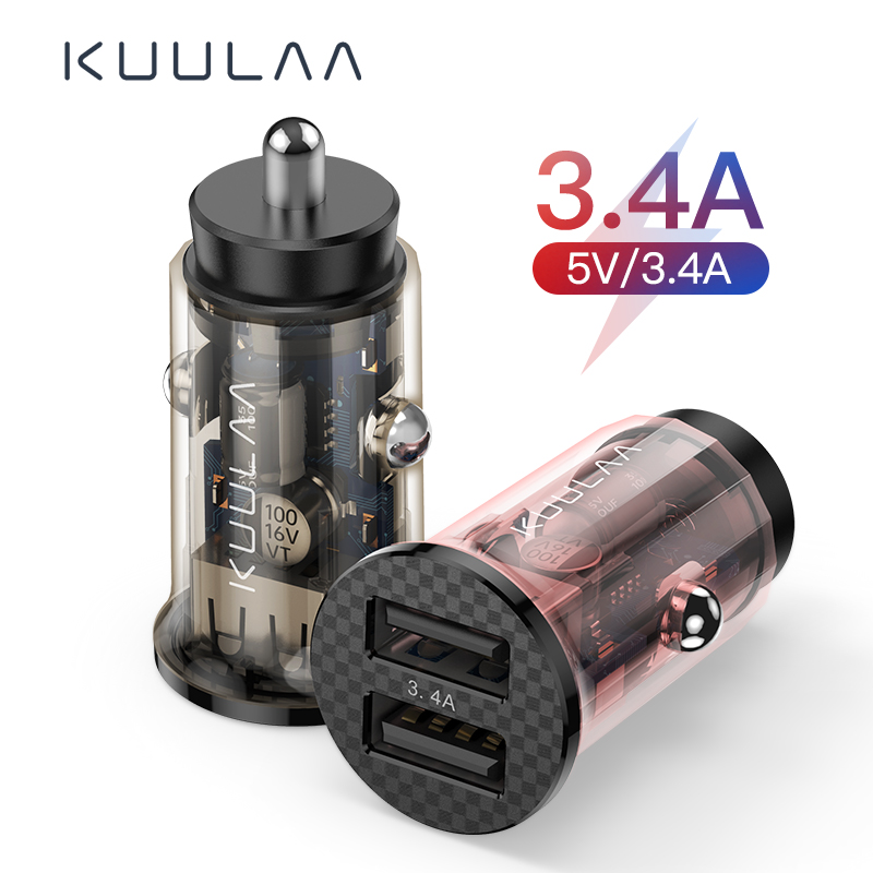 KUULAA Mini USB Car Charger 17W Fast Charging Dual USB Charger For iPhone Huawei Xiaomi Phone Fast Charge Car-Charger Adapter(China)
