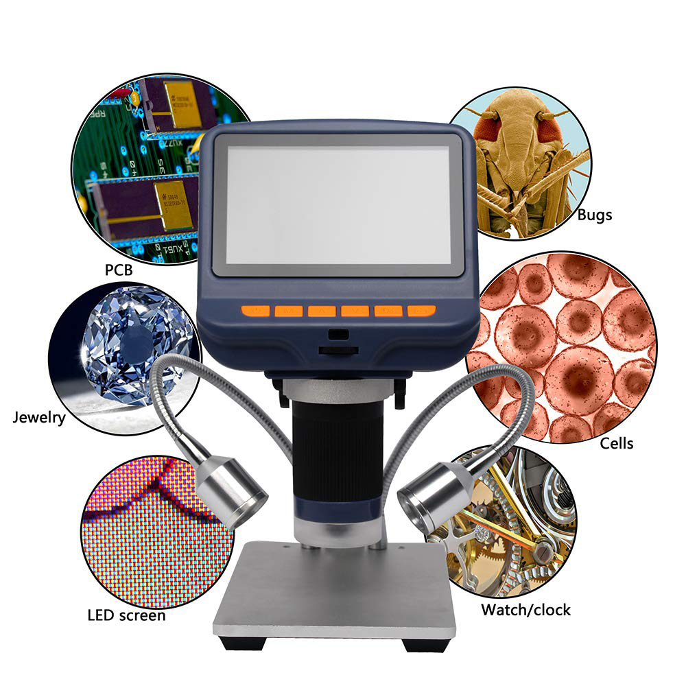 AD106/AD106S Desktop 220X Electronic Digital Stereo Microscope For Soldering Repairing With 4.3-inch HD Screen LED Light
