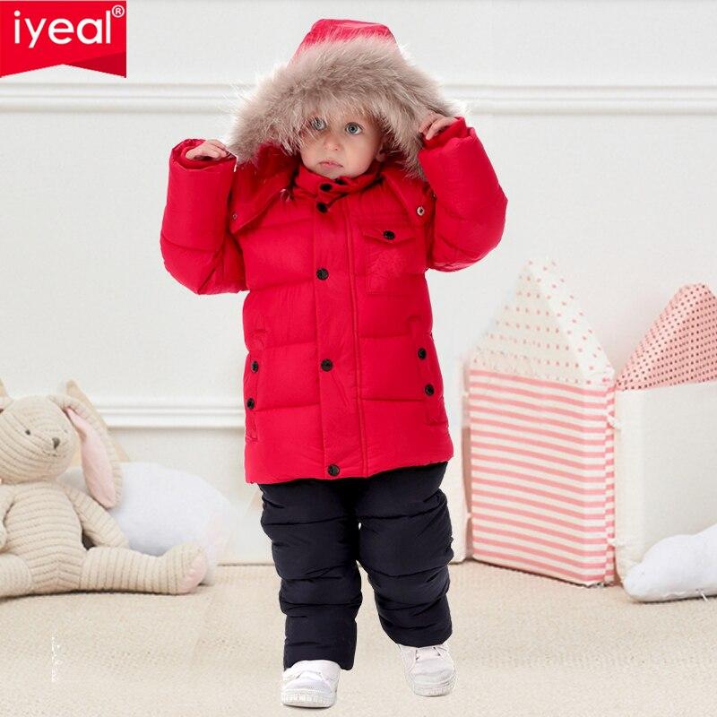 IYEAL Kid garçons hiver vêtements ensemble chaud Parka manteaux à capuche veste avec salopette combinaisons neige porter enfants vêtements ensemble 2-7Y