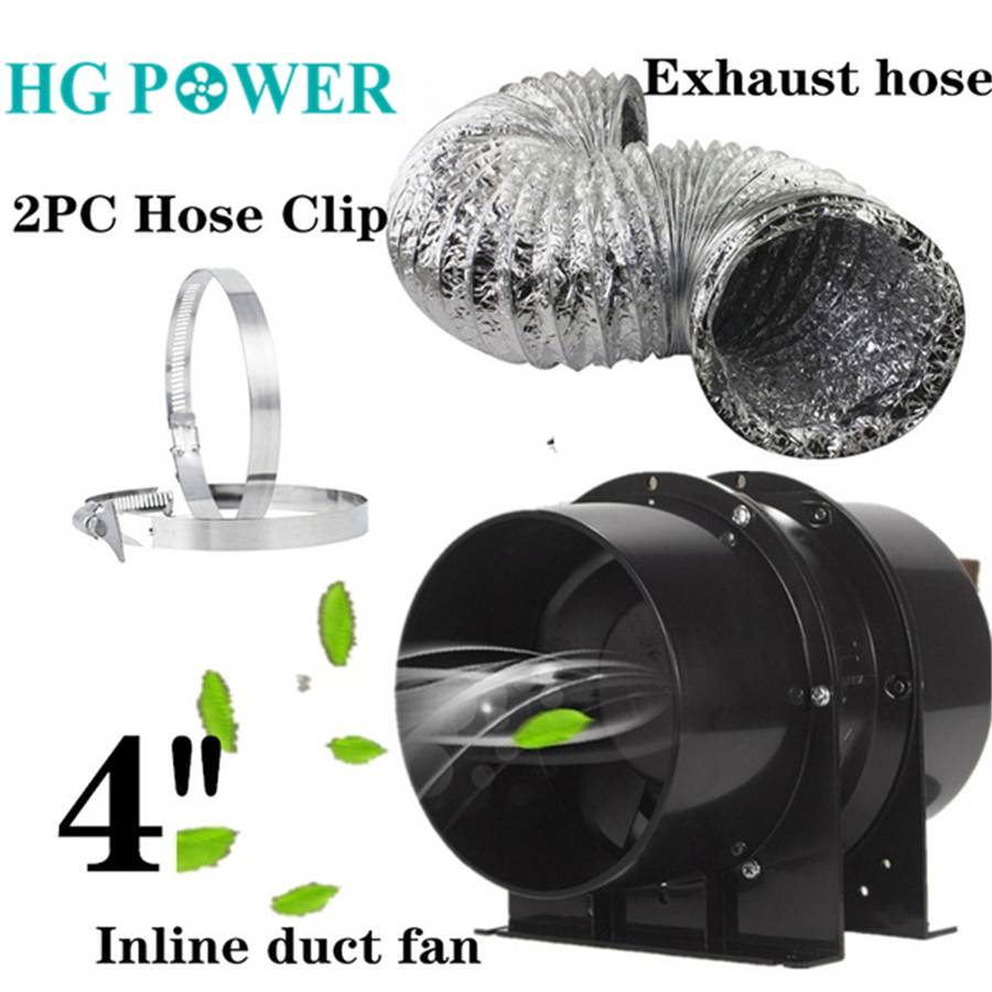 Silent Inline Fan 4 Inch 6inch 110V/220V Ducting Fan Exhaust Hose Kit For Grow Tents With Carbon Filters And Hydroponics