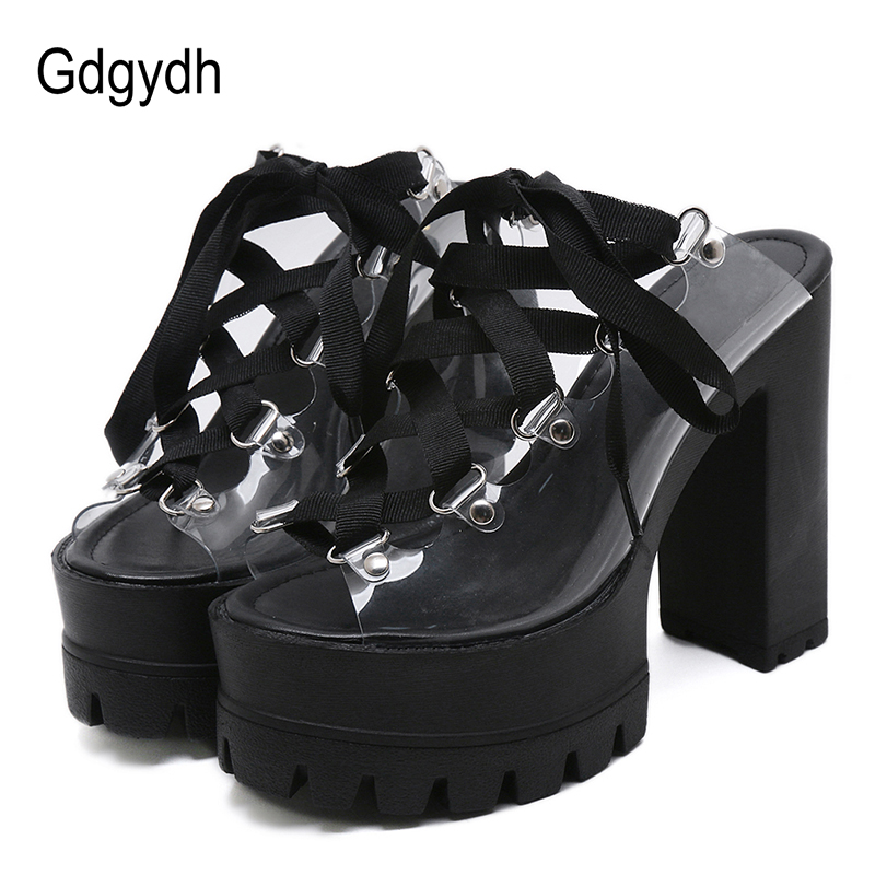 Gdgydh Fashion PVC Ultra High Heels Platform Shoes 2020 New Summer Rubber Sole Mules Shoes Women Block Heel For Party Drop Ship