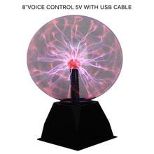Bola de Plasma Esfera de luz mágica lámpara de cristal bola iluminación de escritorio 4/5/6/8 pulgadas sonido controlado Plasma luz para la decoración del hogar