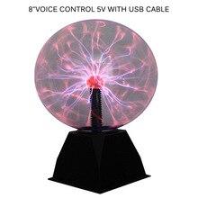 Plazma topu küre işık sihirli kristal lamba topu masaüstü yıldırım 4/5/6/8 inç ses kontrollü plazma ışık ev dekor için