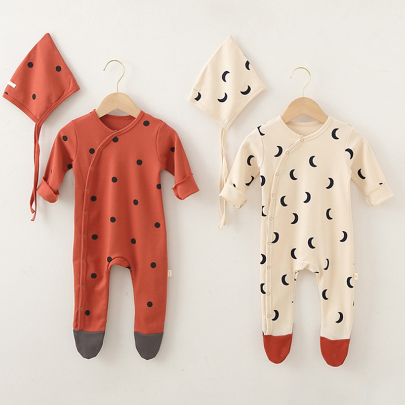 Yg Baby Clothes Newborn Baby Clothes With Hat Printing Baby Jumpsuit Long Sleeve Boys And Girls' Autumn Underpainting Jumpsuit 1