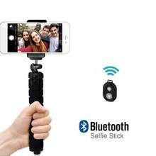 Venda quente portátil tripé esponja polvo titular para huaiwei com clipe mini remoto obturador para iphone smartphone tripé flexível