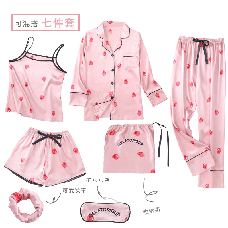 Korean-style Hot Selling Printed Strawberry Seven Sets Pajamas Imitated Silk Fabric Women's Seven Sets Of Home Wear