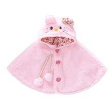 Russian Fall Baby Girl Cashmere Fur Shawl Hooed Collar Wool Coat Toddler Femme Tippet Kids Velvet Cloak Cat Hoodie Ear Outerwear цены