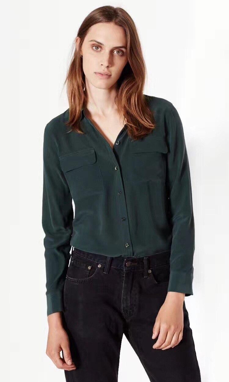 Vrouwen Shirt 2019 Zand Wassen Zijde Klassieke Dubbele Pocket Lange Mouwen Vrouwen Shirt Womens Tops en Blouses-in Blouses & Shirts van Dames Kleding op  Groep 1