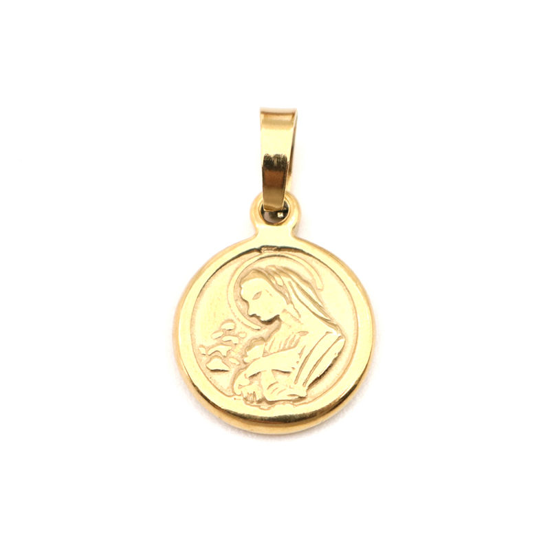 Stainless Steel Charms Round & Oval Gold Virgin Mary Pendants For Women Men Bracelets Necklaces Trendy Jewelry Making, 1 Piece