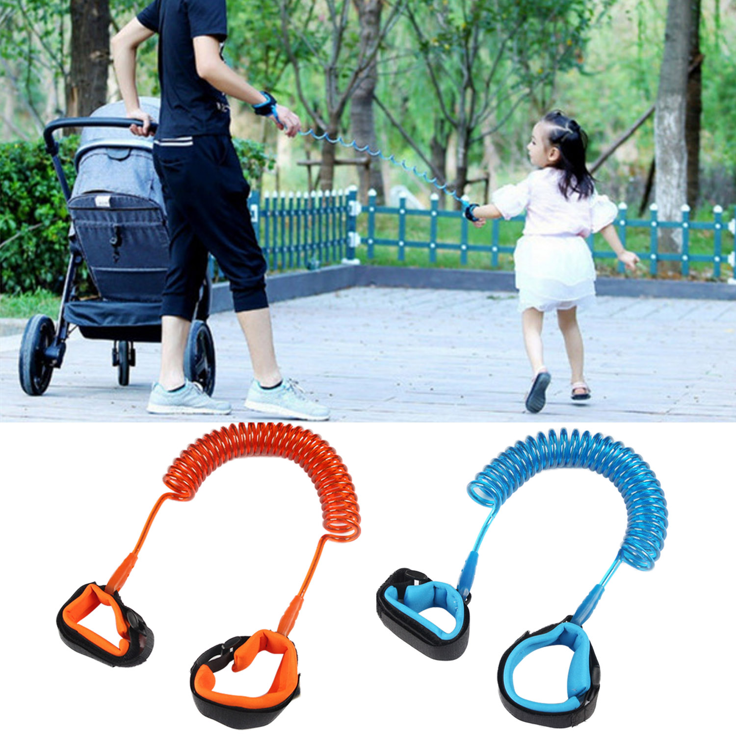 2PCS 1.5m Child Safety Anti-lost Wrist Link Strap Rope Kids Leash Safety Harness Outdoor Walking Hand Belt Anti-lost Wristbands