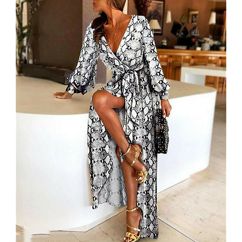 New Fashion Women Snake Skin Print Sexy V-Neck Long Sleeve Casual Long Maxi Dresses Ladies Summer Party Loose Dress