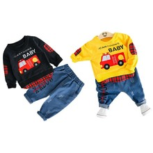 Hip Hop Kids Baby Boy Clothing Sets 2Pcs Fire Engine Plaid Spliced Sweatshirts+Denim Pants Boy Spring Fall Outfits 0-3Y(China)