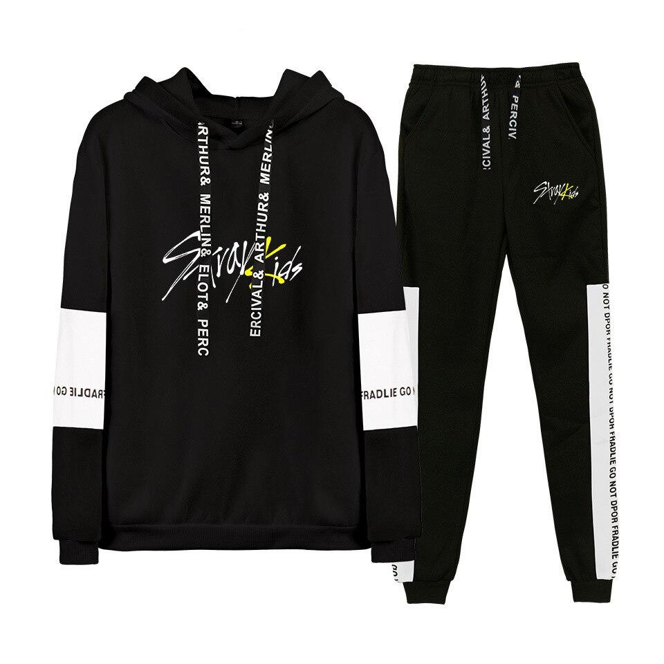 Kpop stray kids Hoodies/Sweatshirt I am who Album Women Men Autumn Spring Hip Pop StrayKids Pullover 2 Pieces Set Tracksuit