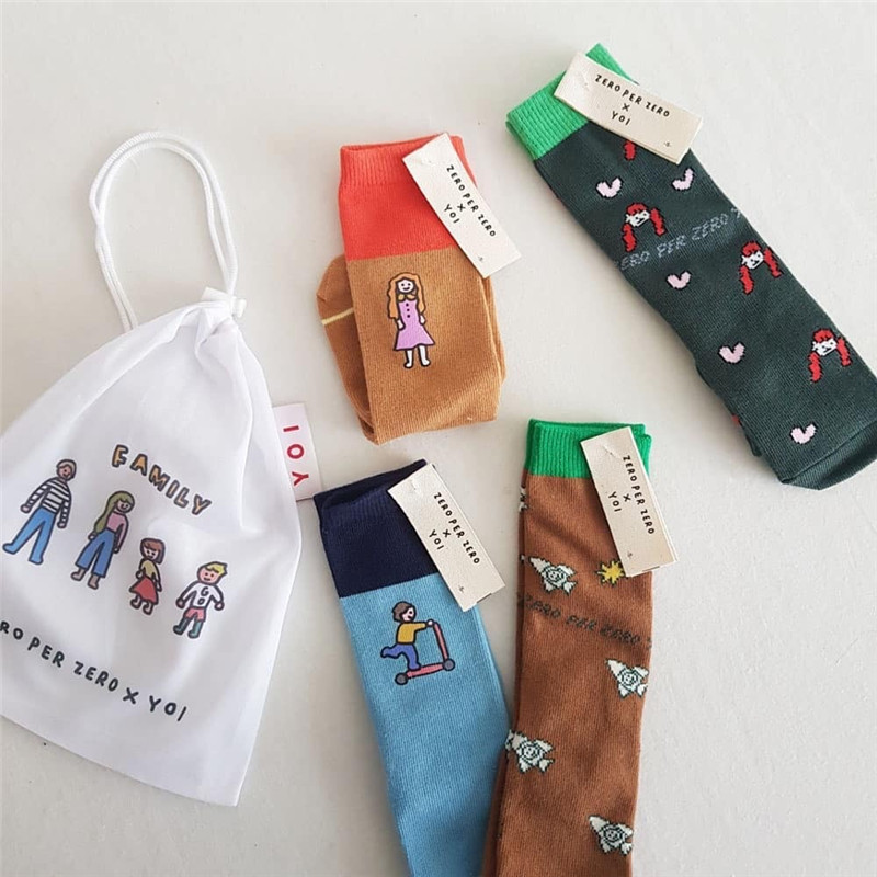 2 Pairs/lot  Kid Fashion Tube Socks Boy Cartoon Print Socks Rocket Pattern Girl Cotton Middle Socks Child Stylish Trends Tubes