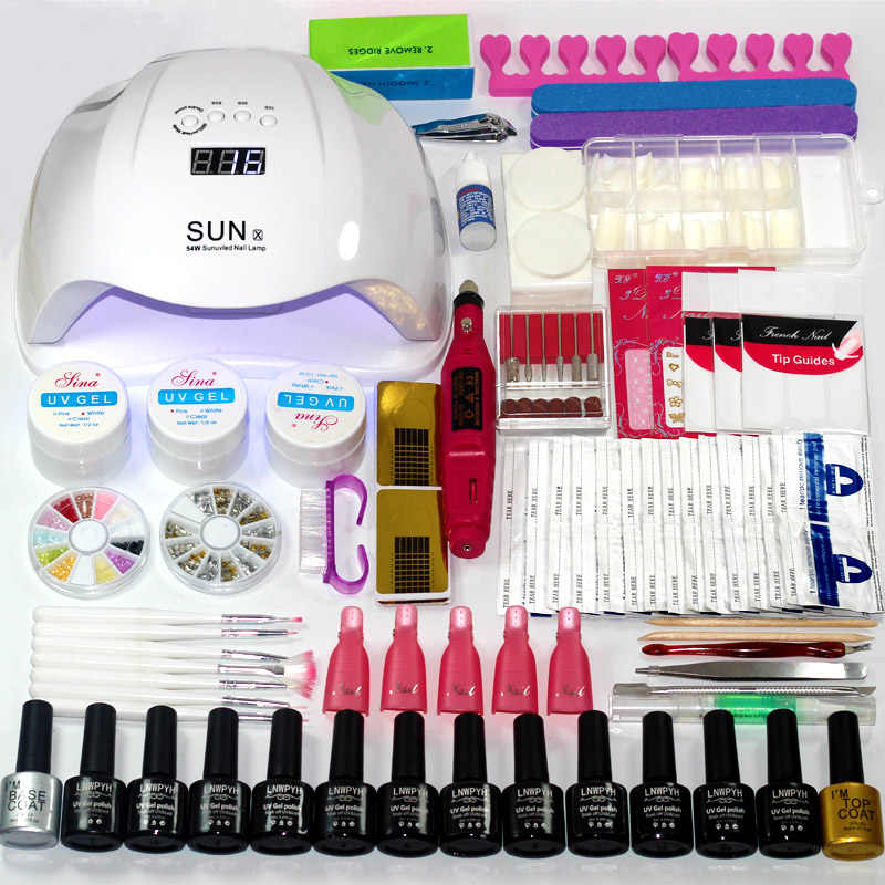 Manicure Set Kiezen 12/10 Kleuren Gel Polish Base Top Coat Nail Kit 24 w/48 w/54 w uv Led Lamp Elektrische Manicure Handvat Nail Art set