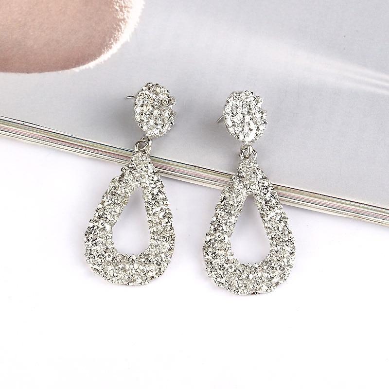 New Fashion Korean Metal Earrings For Women 2019 Gold Silver Color Metal Drop Dangle Earring Statement Wedding Jewelry Wholesale in Drop Earrings from Jewelry Accessories