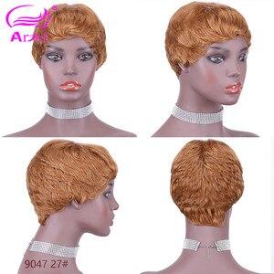 Image 4 - 27# Short Cut Straight Hair Wig Peruvian Remy Human Hair Full Wigs For Black Women F127# 4# 2# Brown Cheap Hair With Bangs Wig
