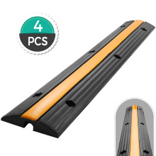 VEVOR 4 Pack of 1 Channel Cable Protective Wire Cord Ramp Driveway Rubber Traffic Speed Bumps Cable Protector