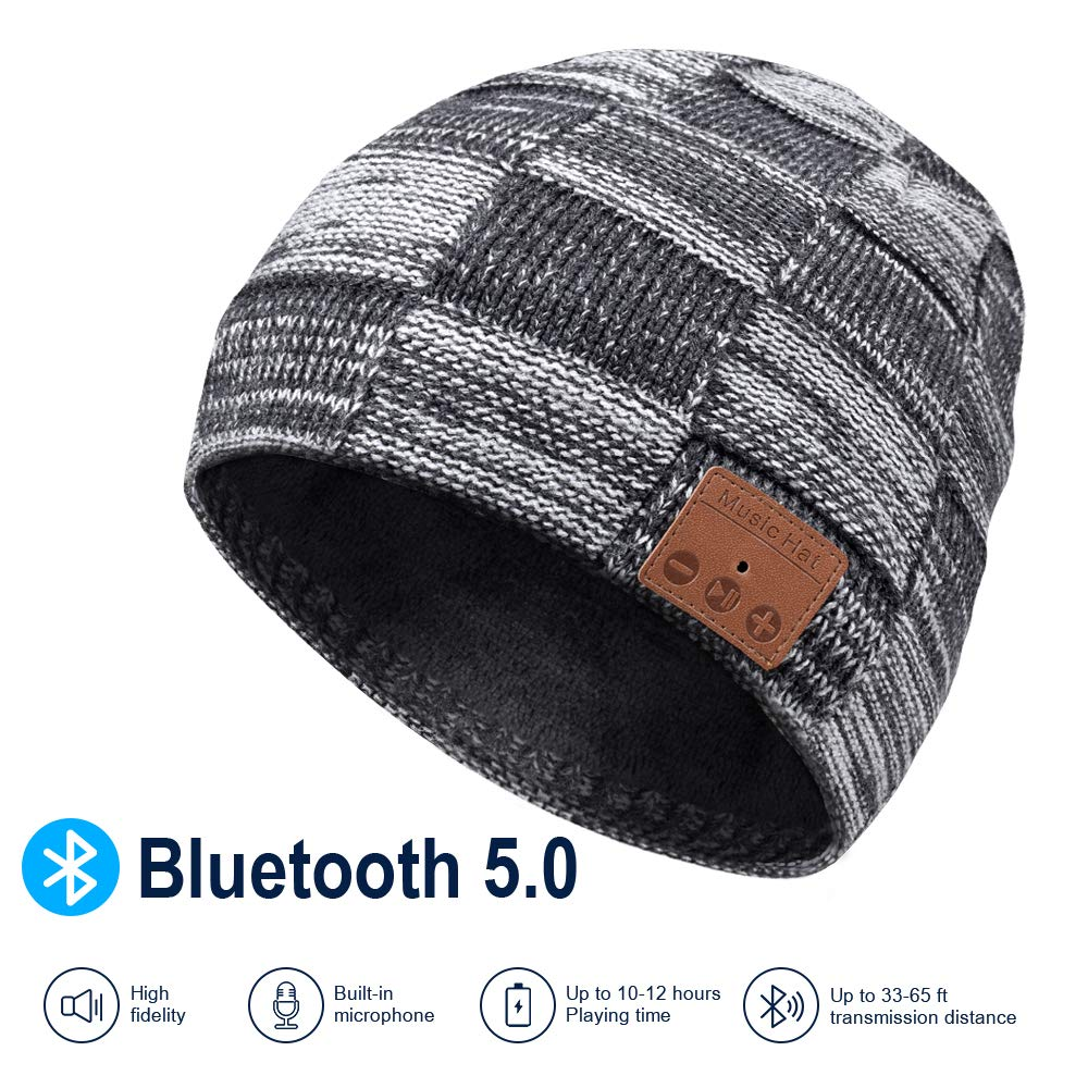 Bluetooth Beanie  V5.0 Bluetooth Hat Wireless Earphone Beanie Headphones HD Stereo Speakers Built in Microphone Electronic Gifts|Running Caps|   - title=