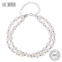 DOTEFFIL New Genuine Natural Freshwater Pearl Bracelets For Women Double Layer Pearl 925 Silver Spring-Clasps Fine Jewelry Gift doteffil genuine natural freshwater pearl bracelets fine jewelry bangles for women 6 7mm pearl oval 925 silver pearl clasps gift