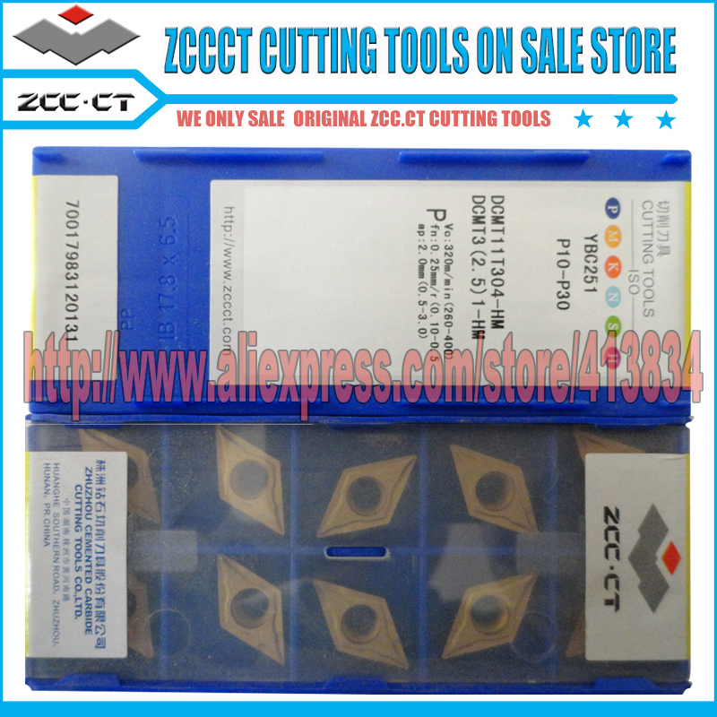 10pcs  ZCC.CT DCMT11T308 DCMT3(2.5)2-HM YBC251  CNC carbide bits HM YBC251