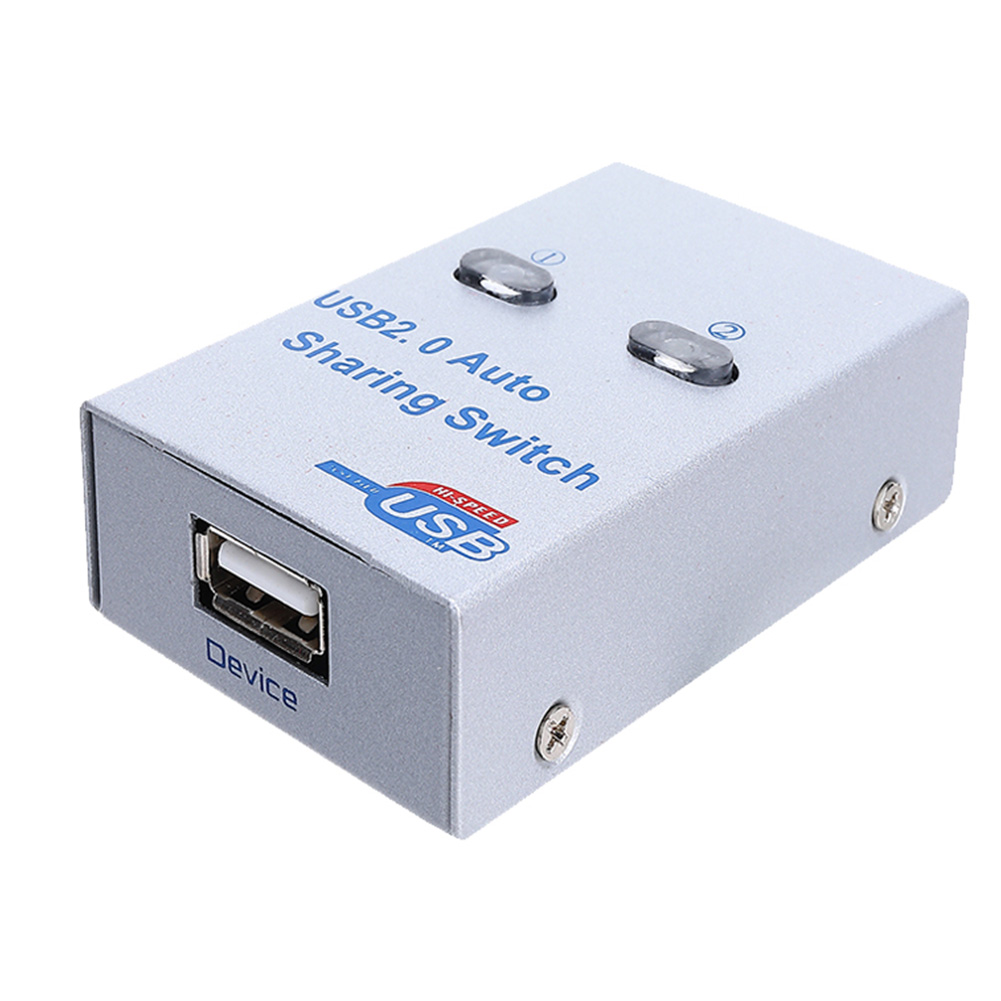 USB 2.0 2 Port Compact PC Switch HUB Metal Office Printer Sharing Scanner Splitter Device Electronic Adapter Box Automatic