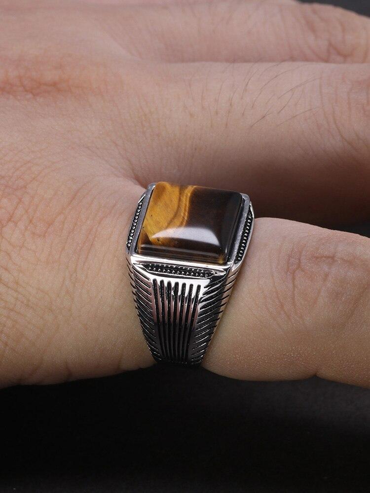 Fine-Jewelry Ringen Natural-Stone 925-Man-Ring Tiger-Eyes Sterling-Silver Retro Stripe