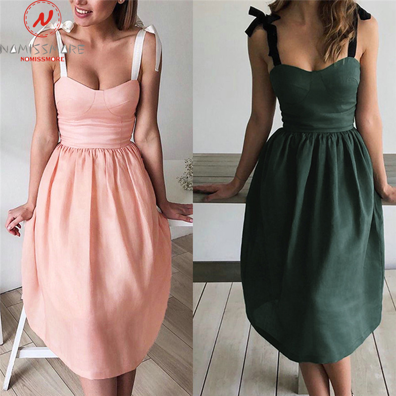 Women A-Line Dress Tied Knot Design Sexy Sling Sleeveless Solid Color Strapless Dress Office Lady Summer Slim Mid-Calf Dress