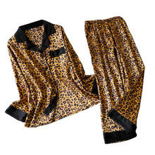 Leopard Pyjamas Women Stripe Satin Pajamas Sets 2019 New Spr