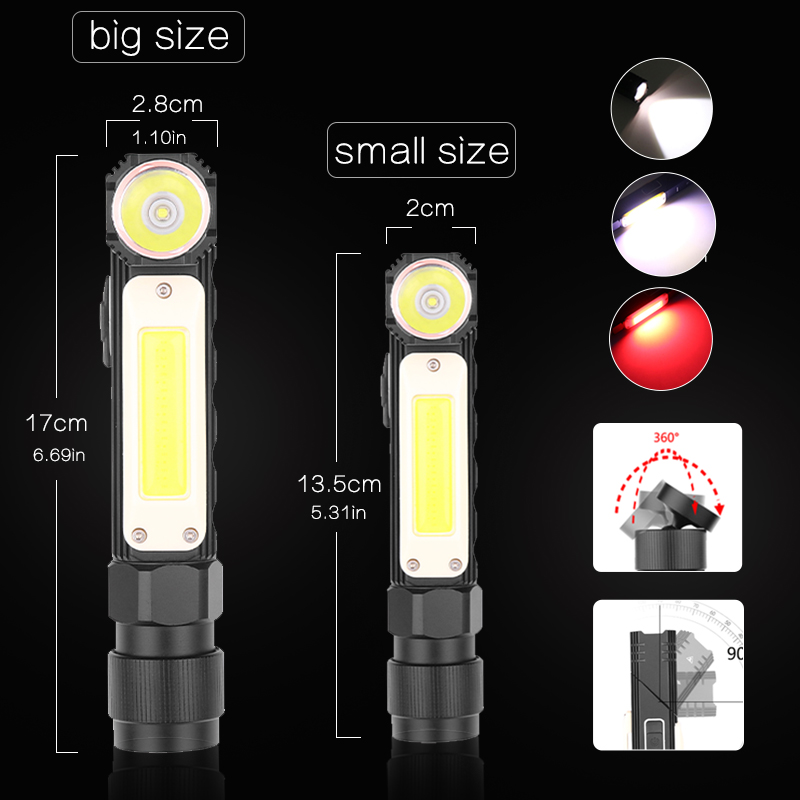 lowest price 8000LM Handfree Dual Fuel 90 Degree Twist Rotary Clip Rechargeable Tactical Flashlight Super Bright 5 Modes LED Torch Outdoor