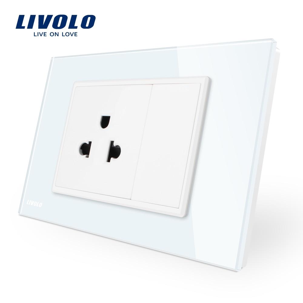 Livolo Us Power Socket With Usb Charger,White Black Crystal Glass Panel, AC110~250V 16A Wall Power Socket,French Com Socket